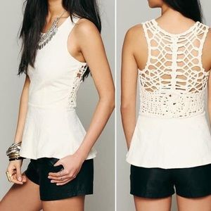Free People Crochet Back Peplum Boho Top